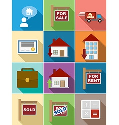 Real Estate flat icons set design vector