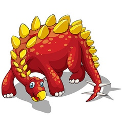 Red dinosaur with yellow spikes on white vector