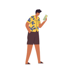 relaxed suntanned tourist walking and reading city vector image