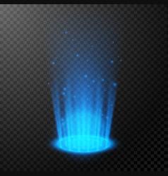 round blue glow rays empty light effect podium vector image