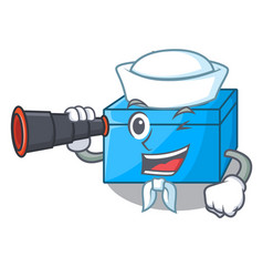 Sailor with binocular cartoon tissue box on a vector