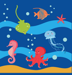 sea world animals colections vector image
