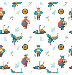seamless pattern with vikings and dragons vector image