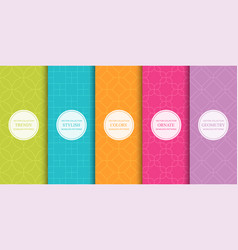 set colorful geometric seamless ornamental vector image