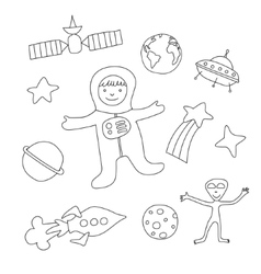 Set of cartoon baby items on the theme of outer vector