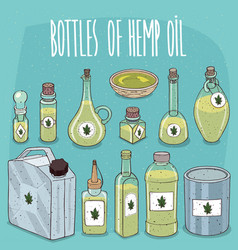 set of containers with hemp seed oil vector image