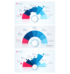 Set of stylish pie chart circle infographic vector