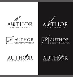 Set pen feather author write logo vintage vector