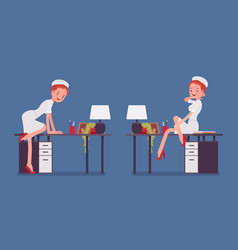 sexy nurse posing at the working desk vector image