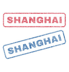 Shanghai textile stamps vector