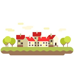 Small town flat Buildings background vector