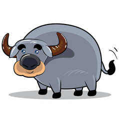 smile buffalo cartoon character vector image