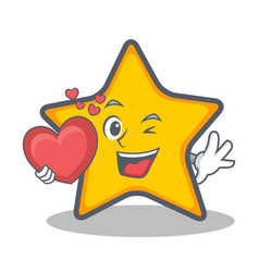 Star character cartoon style with heart vector