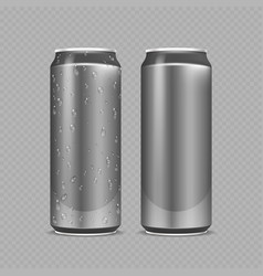 Steel cans aluminium bottles for beer lemonade vector