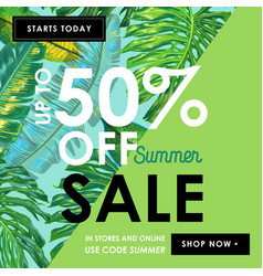 summer sale tropical banner with palm leaves vector image