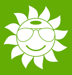 sun icon green vector image