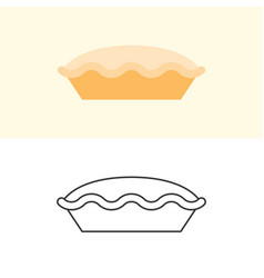 Tart and pie icon in flat design and outline vector