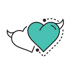 Twins line icon style heart devil blue vector