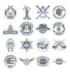 Usa logo vintage icons set simple style vector