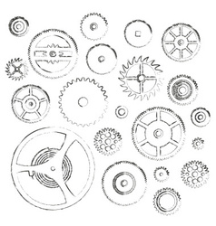 Various cogwheels parts of watch movement doodle vector
