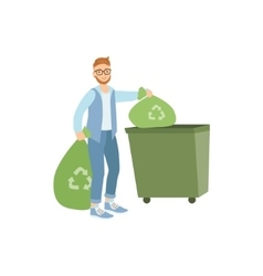 Volunteer throwing away trash for recycling vector