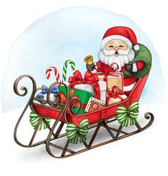 watercolor vintage christmas sleigh with santa vector image
