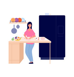 Woman cooking girl bakes pie in kitchen isolated vector