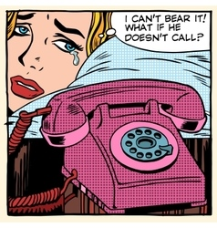 Woman is crying and waiting for a call vector