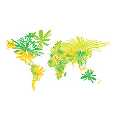 World map spring blooming flowers green and vector