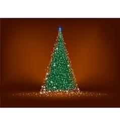 Abstract green christmas tree on brown EPS 8 vector image vector image