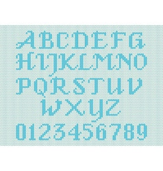 Blue knitted alphabet and figures vector image