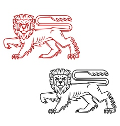 Heraldic lion king in retro cartoon style vector image