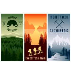 Mountain expeditions vertical banners set vector