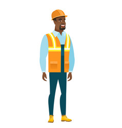 young african-american happy builder vector image vector image