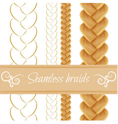 Hair braided isolated on white Seamless three vector image