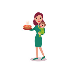 mother holding fresh homemade pie in one arm and vector image
