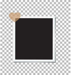 photo frame and a heart with shadow on the vector image