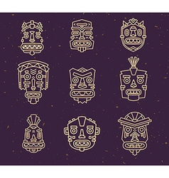 Set of ethnic tribal colorful masks on da vector