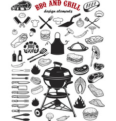 big set of bbq and grill design elements kitchen vector image