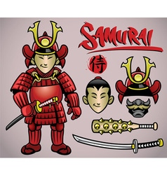 cartoon samurai with the complete gears vector image