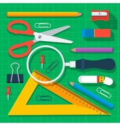 Colorful school supplies flat design vector image vector image
