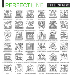 eco energy outline mini concept symbols renewable vector image vector image