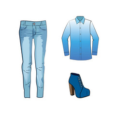 fashion set with jeans trousers gradient blouse vector image vector image