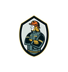 Fireman Firefighter Arms Folded Shield Retro vector image vector image