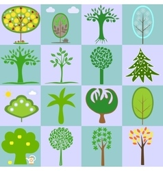 icons with different types of trees vector image