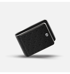 Realistic Black Leather Wallet vector image