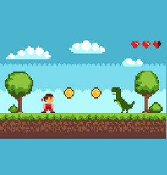 old style pixel game on blue vector image
