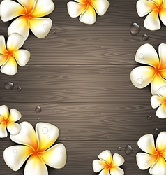 Tropical flowers on a wooden background vector