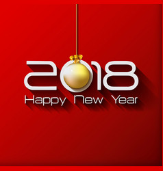 2018 happy new year gift greeting card with gold vector image