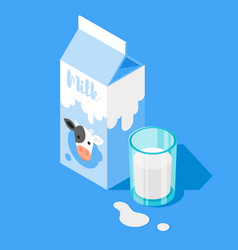 3d isometric of milk packing vector image